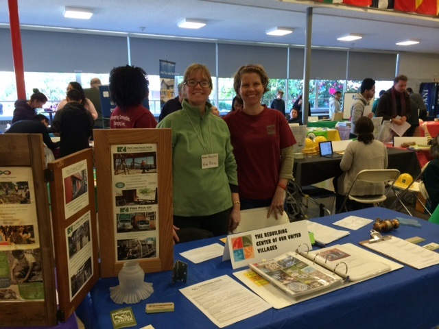 Megan (right) with classmate Kim Reid promoting the Rebuilding Center.