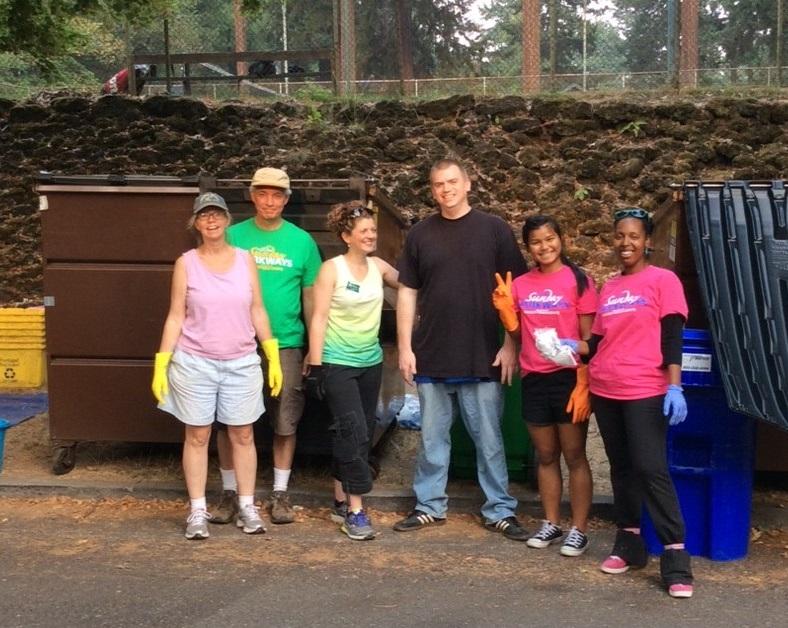 Kim (far left) joined the Sunday Parkways Green team