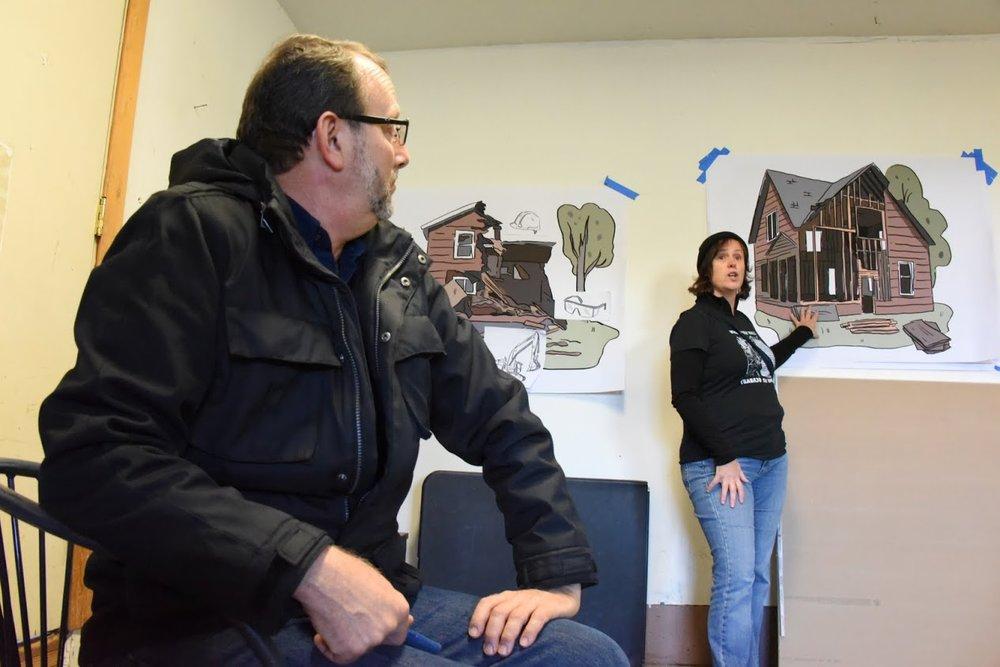 BPS staff and Voz baordmember, Lauren Norris, explains the advantages to deconstruction over demolition.