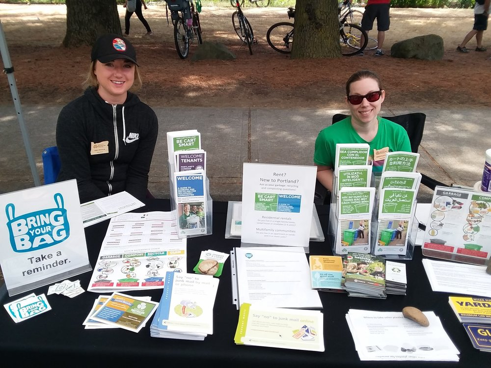 Emily (on the right) is pictured at Sunday Parkways with classmate Amber Clifford.