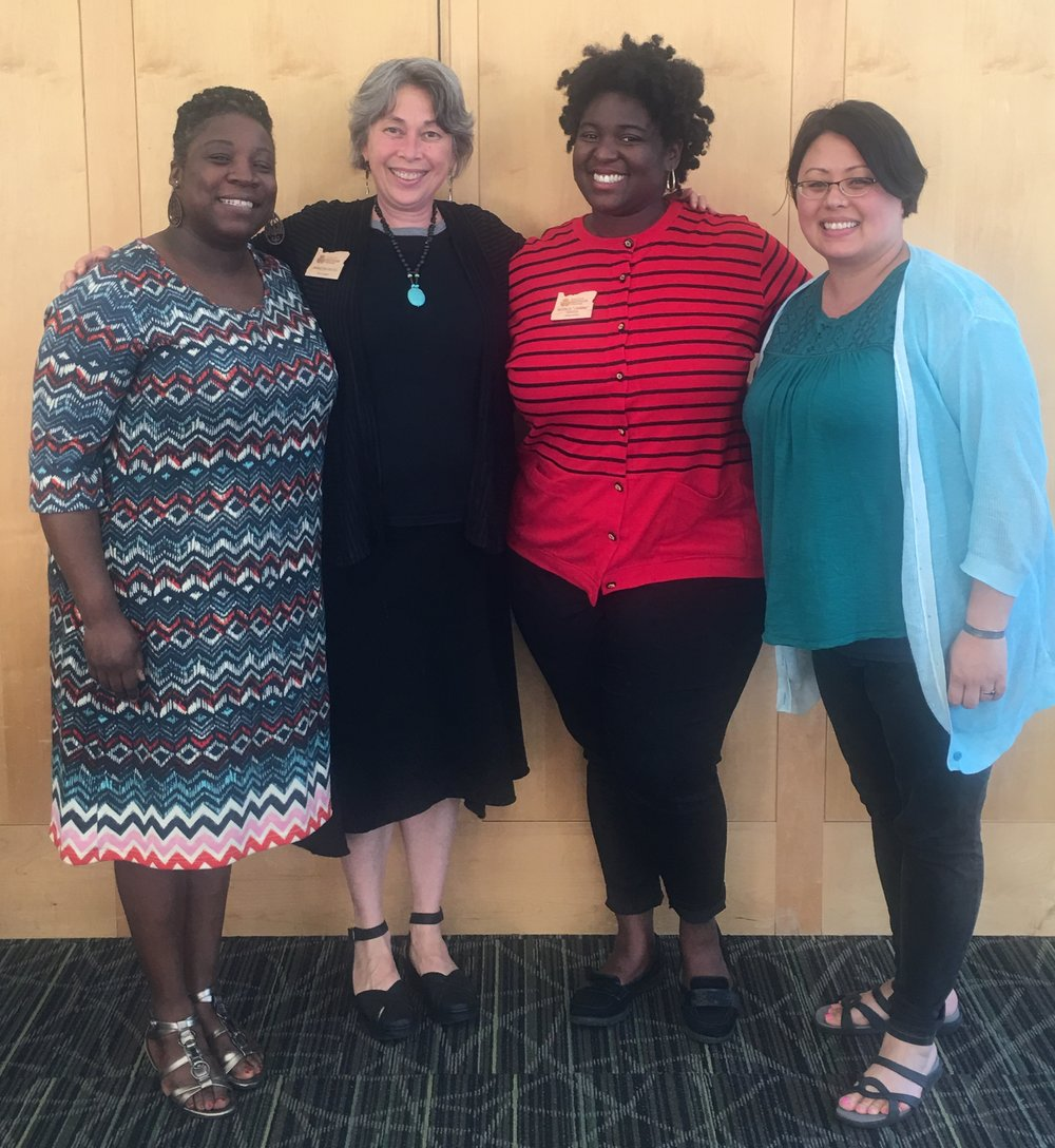 From the first MRoC meeting: Leesha Posey, Annette Pronk and Janine Gates (Class 64) and Liz Start (Class 56)