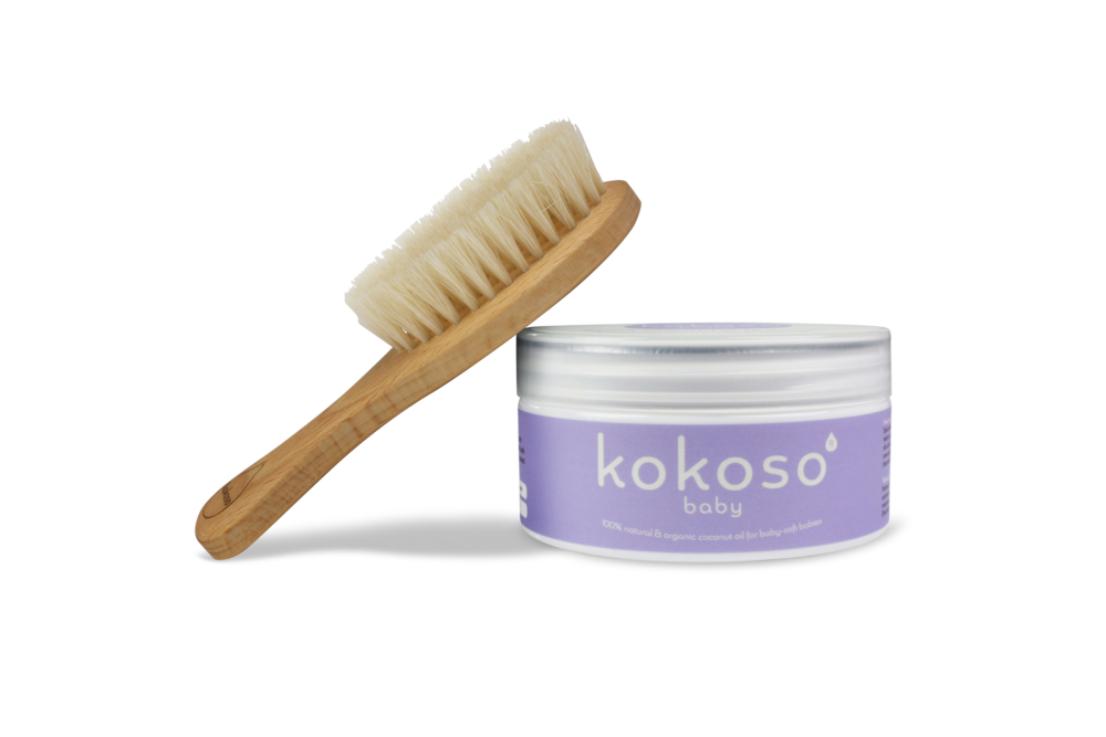 Kokoso Baby Brush Set £13.99 Save when you buy our marvellous multipurpose coconut oil (168g) and natural wooden baby hairbrush together.The perfect gift for a baby shower or newborn.