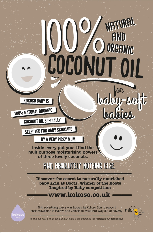 Kokoso Baby Coconut Oil's Microloan tube poster.
