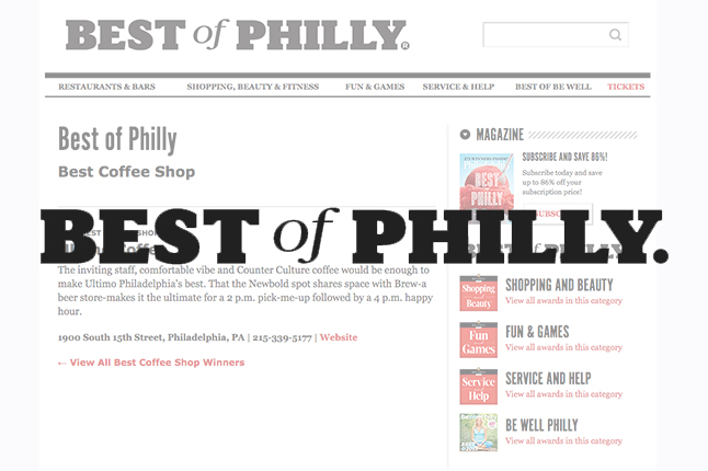 Philadelphia Magazine // Best Coffee Shop