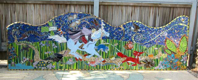 Paul Revere Park in Anaheim, California park opened in the January 2014.  The focal point for the Park is a mosaic mural depicting Paul Revere's midnight ride. Katherine developed the mural's design using drawings created by students from Paul Revere Elementary School on which animals children imagined Paul Revere came across during his famous ride.
