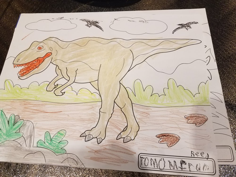 Reed colored this for me after my audition. He said, Mom this is for you, for your Dinosaur movie with Mr Ryan.