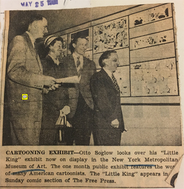 I have not found many photos of this show. Here, for scholarly purposes only, is a clipping from the Colorado Springs (CO) Free Press, showing the Mondrian style grid display. Otto Soglow was the Chair of the NCS committee that organized the exhibit.