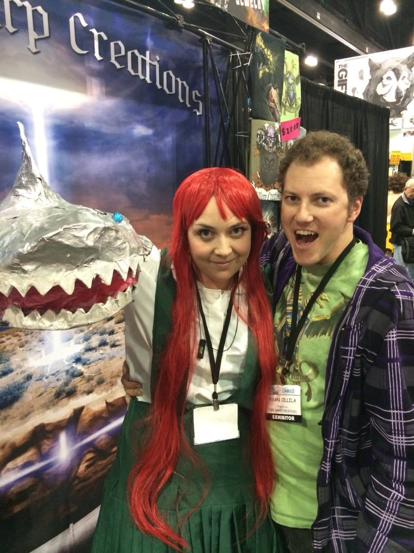 Julia (dressed up as the Shark Handed Girl) and her husband Ryan at Stan Lee's Comikaze Expo promoting The Shark Handed Girl.