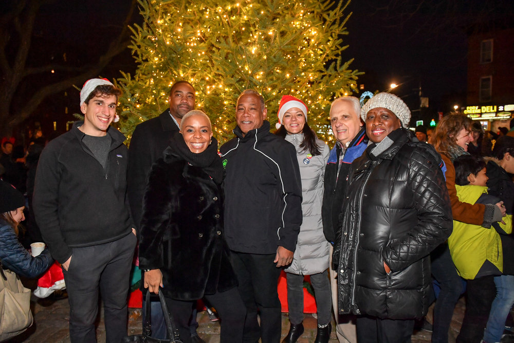 left to right: Julian Macrone, FGPC; Kevin Shirley, Apple Bank; Council Member Laurie Cumbo; Parks Commissioner Mitchell Silver; Meredith Phillips Almeida, MABP; Assemblyman Joseph Lentol; and Denise Peterson, Brooklyn DA office. photo credit: Daniel Avila, NYC Parks