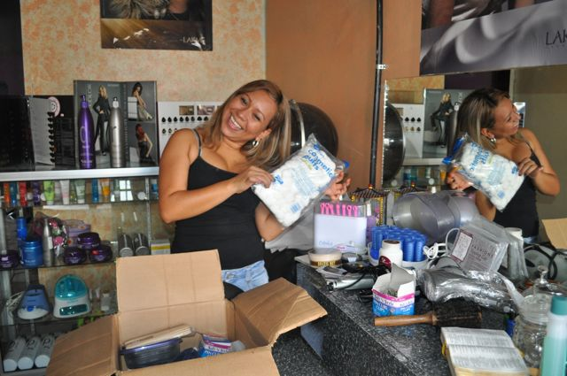 We were able to bring Paola some products she can use in her salon, she was very thankful!