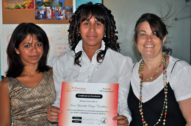 Irma on graduation day with Denia the class instructor and co-founder Lori Connell