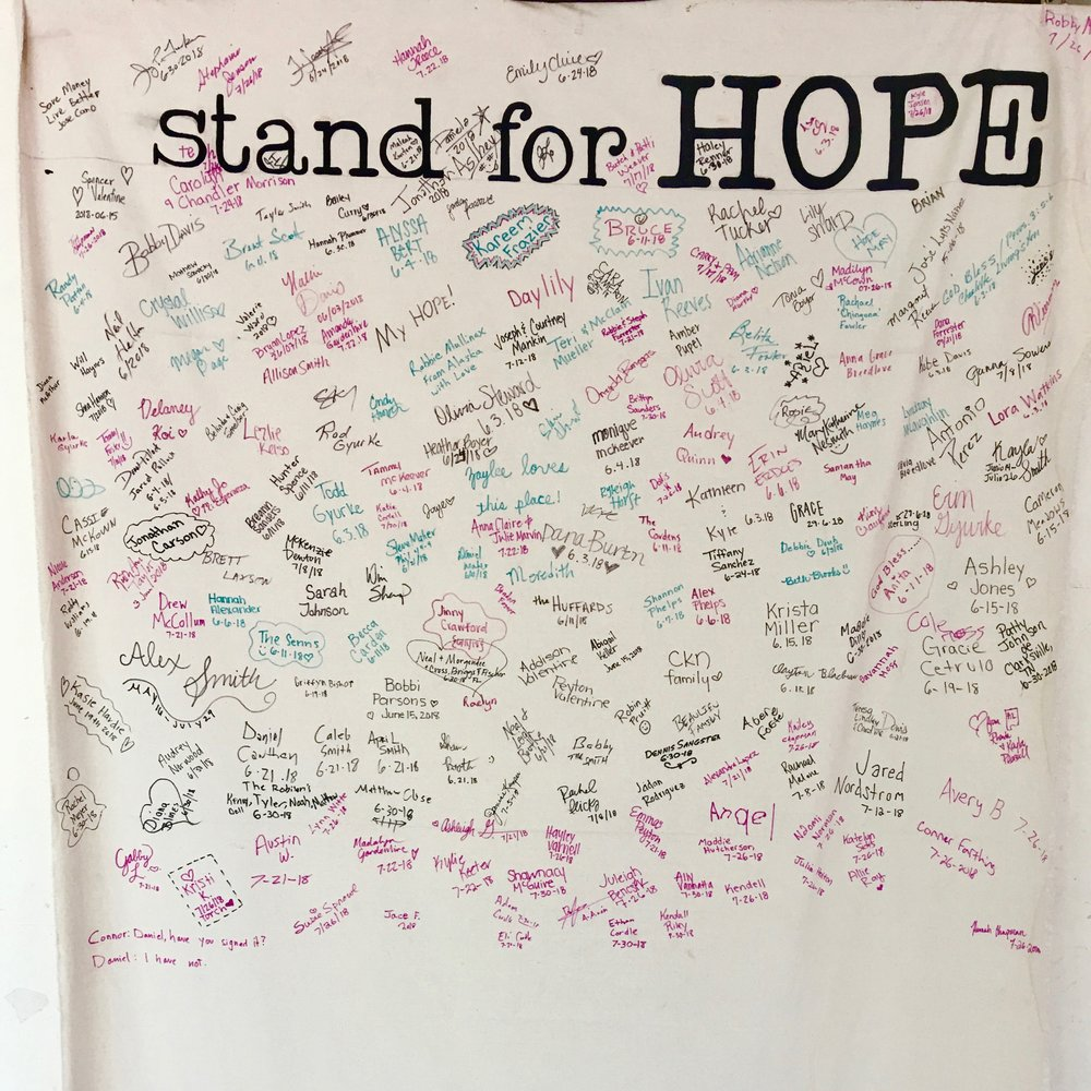 over 175 signatures of those committing to STAND FOR HOPE