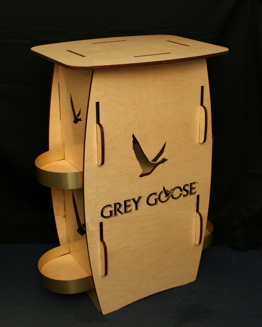 Grey Goose Wood Bar with Laser cut logo and side shelves.jpg