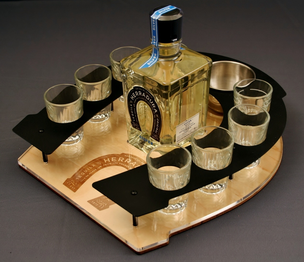 Herradura BS Shot Tray Steel on Wood.JPG