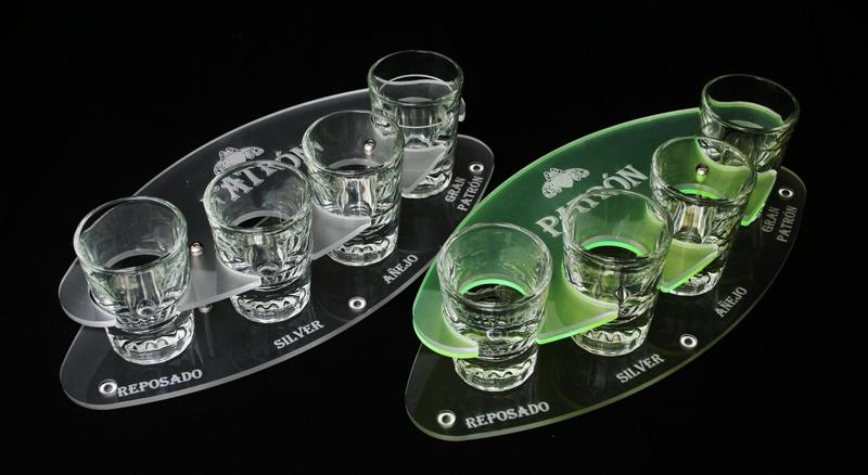 Patron Flight Tray Set Shots Green and Frosted Acrylic.JPG
