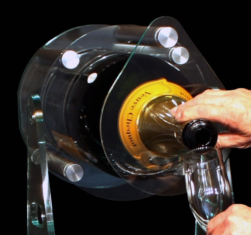 - Pouring large bottles is made easy and spill free.