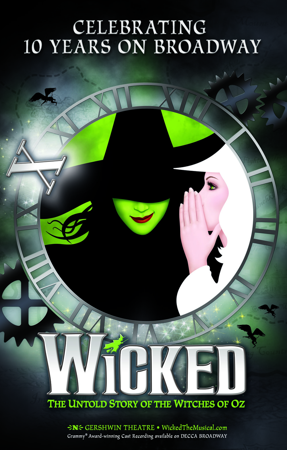 Initial concept development of Wicked's 10th Anniversary on Broadway key-art in 2013. Creative Direction: David Barrineau