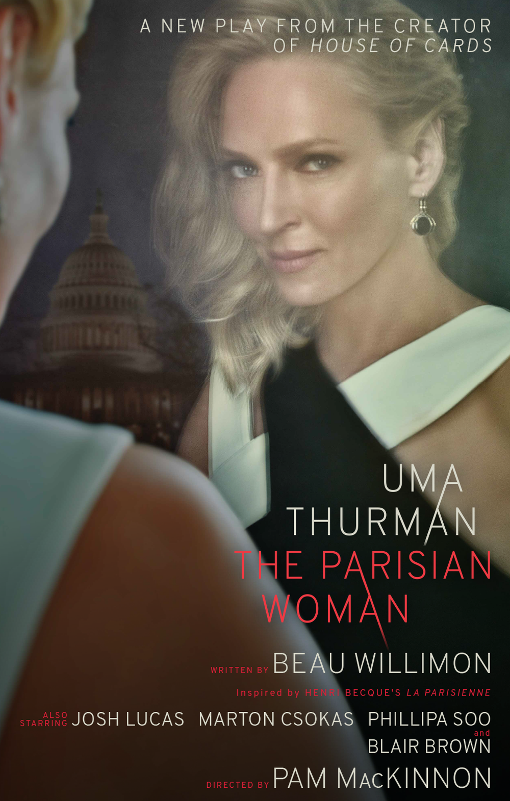 Final poster design and art direction for the 2017 Broadway production of The Parisian Woman starring Uma Thurman. Creative Direction: Vinny Sainato, Tom Callahan, Jay Cooper Title Treatment Design: Rex Bonomelli Photographer: Ruven Afanador
