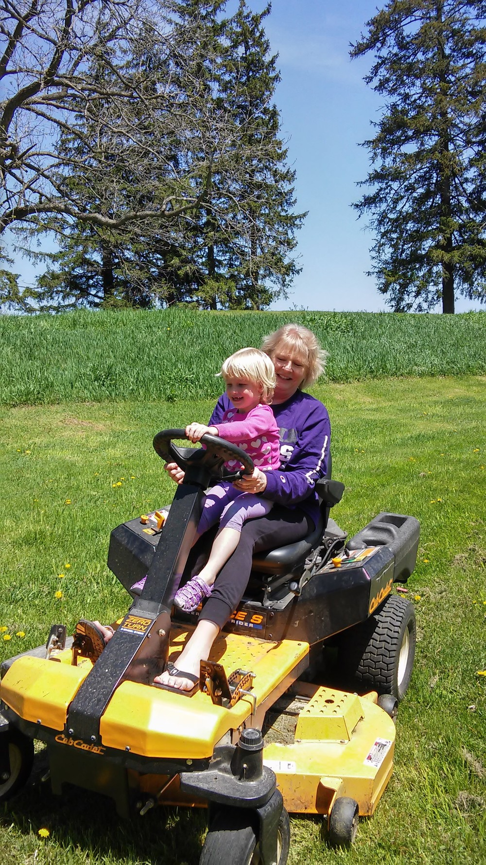 Mowin' the lawn with Grammy!
