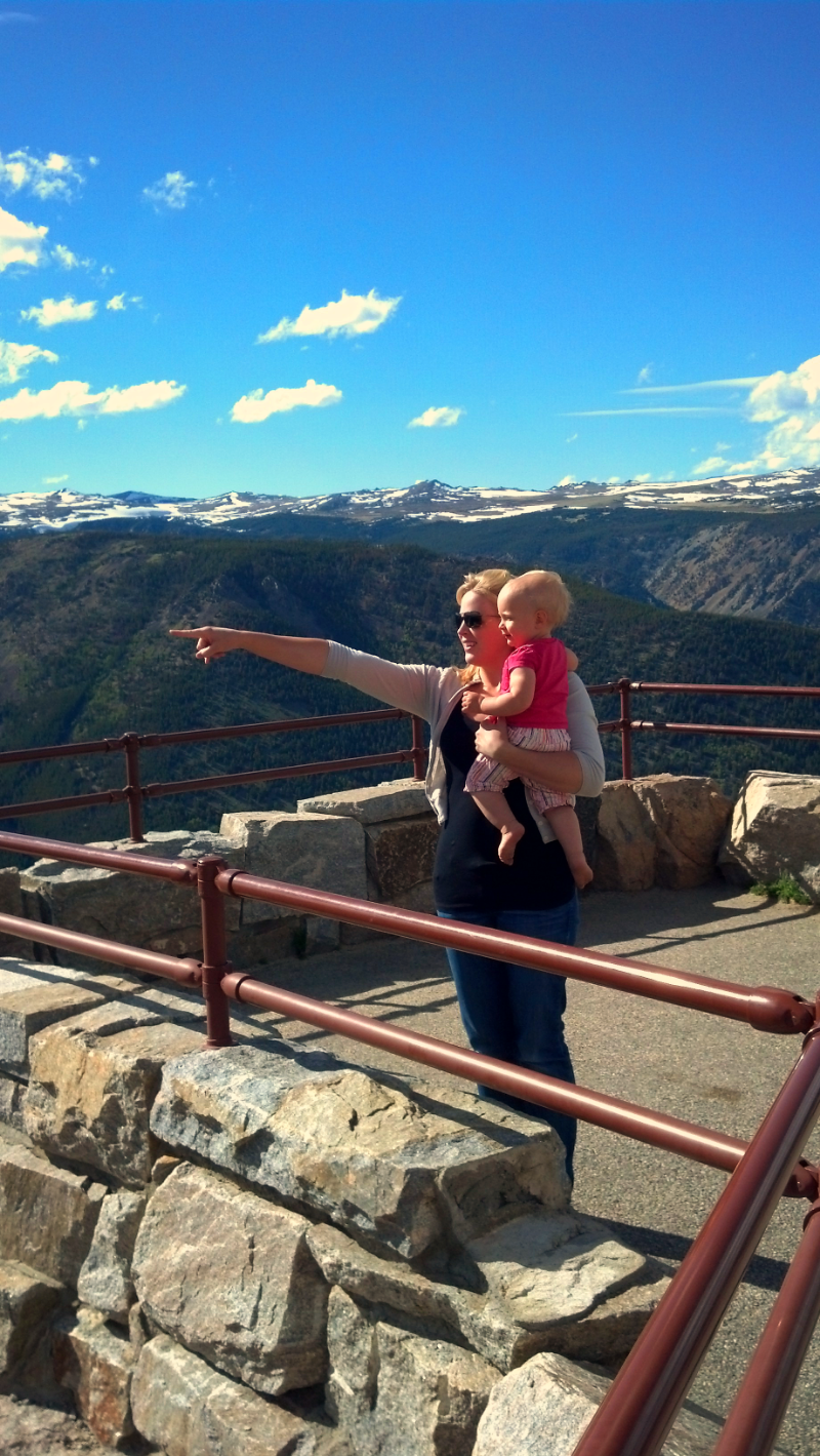 This pic was not staged.  She's literally trying to show <1yr old Hannah the Beartooth Hwy.