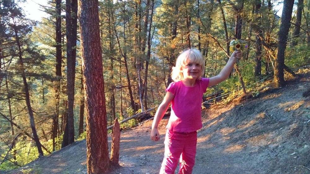 Hannah may become a naturalist some day. She studies everything on the trail.