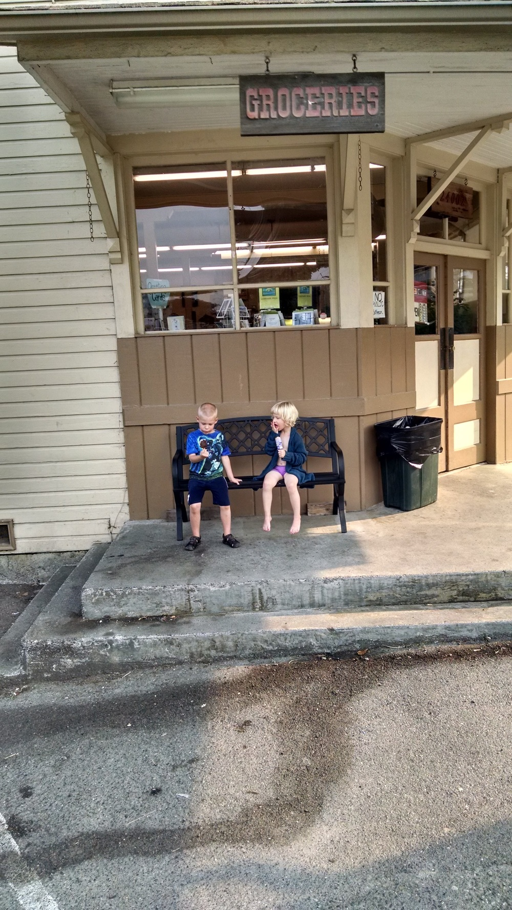 Hannah and Ewan, just chilling outside a general store while we waited for the ferry back to the mainland.