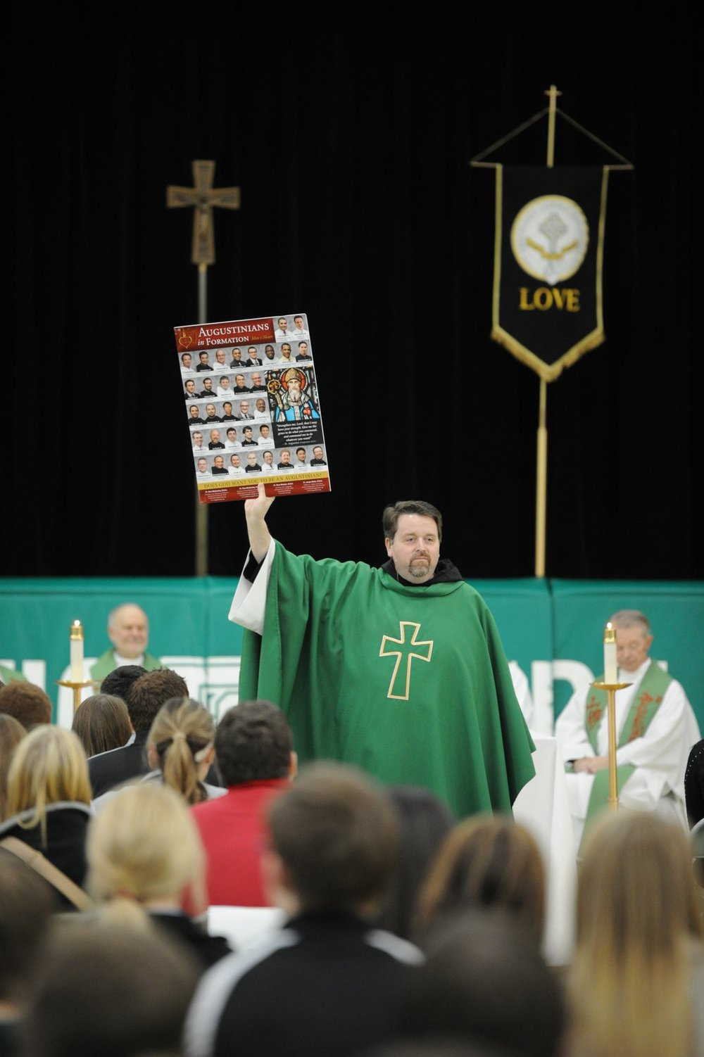 Fr. Tom talks about vocations and gifts with the students at Providence Catholic High School in New Lenox, Illinois