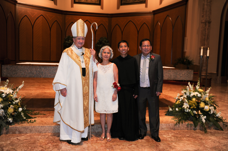 Brother Richie with his parents and Archbishop Cupich of Chicago