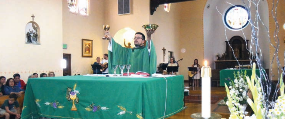 Fr. Carlos Medina, O.S.A., celebrates his Mass of Thanksgiving following his priestly ordination in June, 2016.  Photo:  The Augustinians  No. 186. San Diego, CA: Order of St. Augustine in the Western U.S.