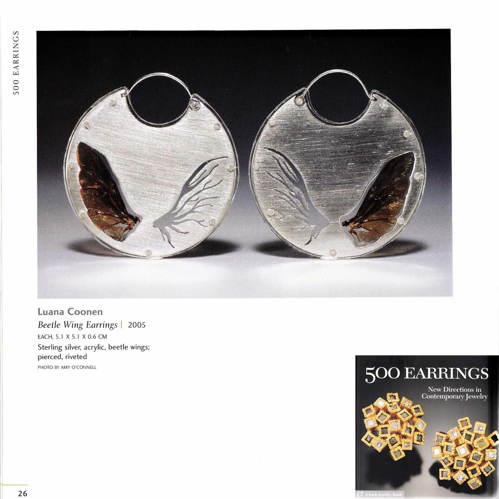 """Beetle Wing Earrings"" featured in  500 Earrings  publication"