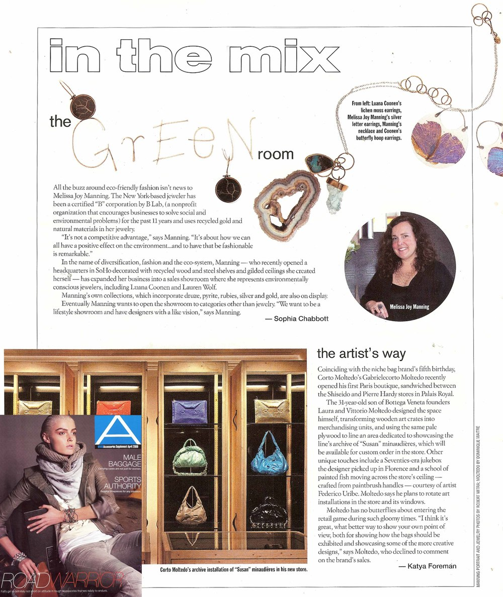 "WWD Magazine (Womens Wear Daily) ""Lichen Memento Earrings"" & ""Morpho Encasements"" featured in article  In The Mix: The Green Room"