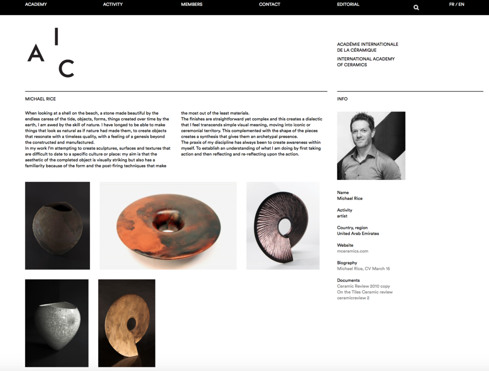 Elected member of The International Academy of Ceramics 2015
