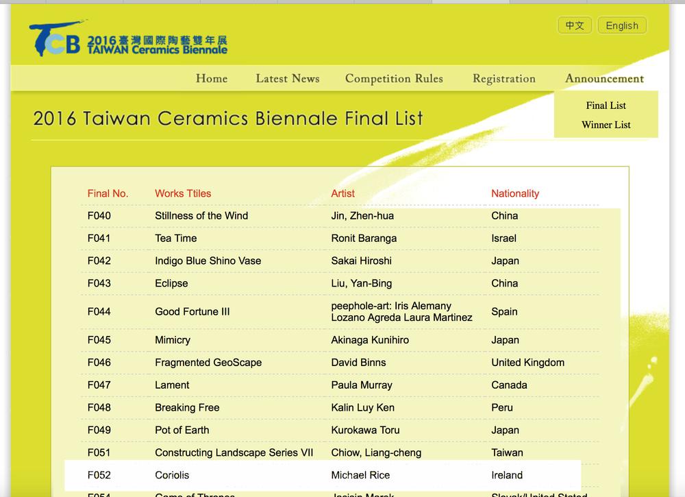 Selected for the Taiwan Ceramic Biennial 2016