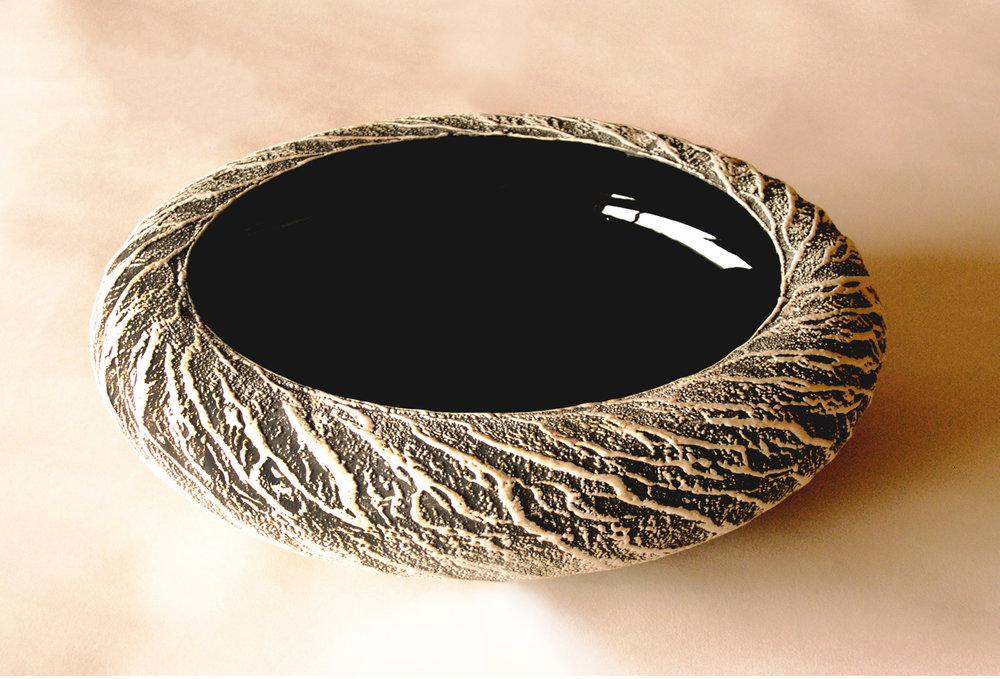 Black & White Juddered & Textured Bowl  2009