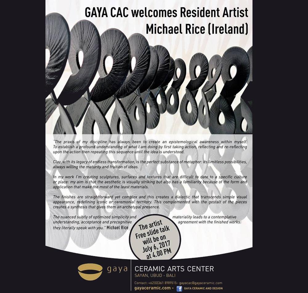 Resident Artist talk at GAYA in Ubud Bali July & August 2017