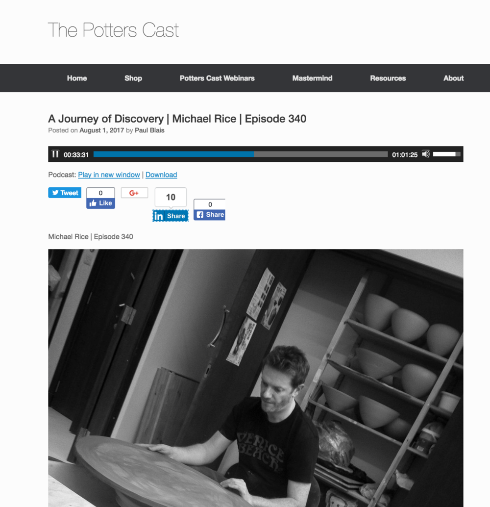 "Interviewed by Paul Blais for the ""Pottesrcast"" podcast  http://ThePottersCast.com/340"