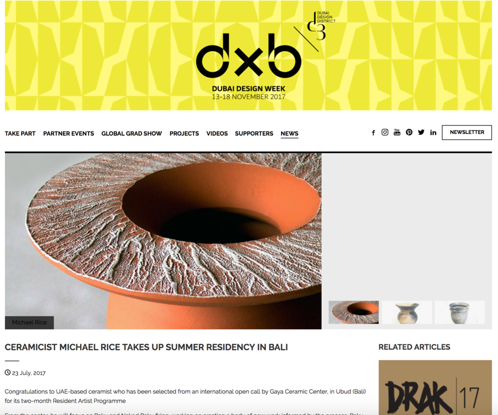 Featured on the Dubai Design Week website   http://www.dubaidesignweek.ae/news/2017/07/ceramicist-michael-rice-takes-up-summer-residency-in-bali/