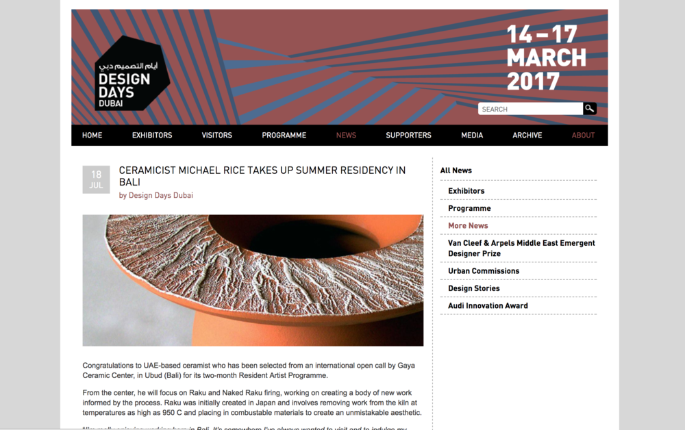 Featured on the DesignDaysDubai website    http://www.designdaysdubai.ae/news/more-news/2017/07/ceramicist-michael-rice-takes-up-summer-residency-in-bali/