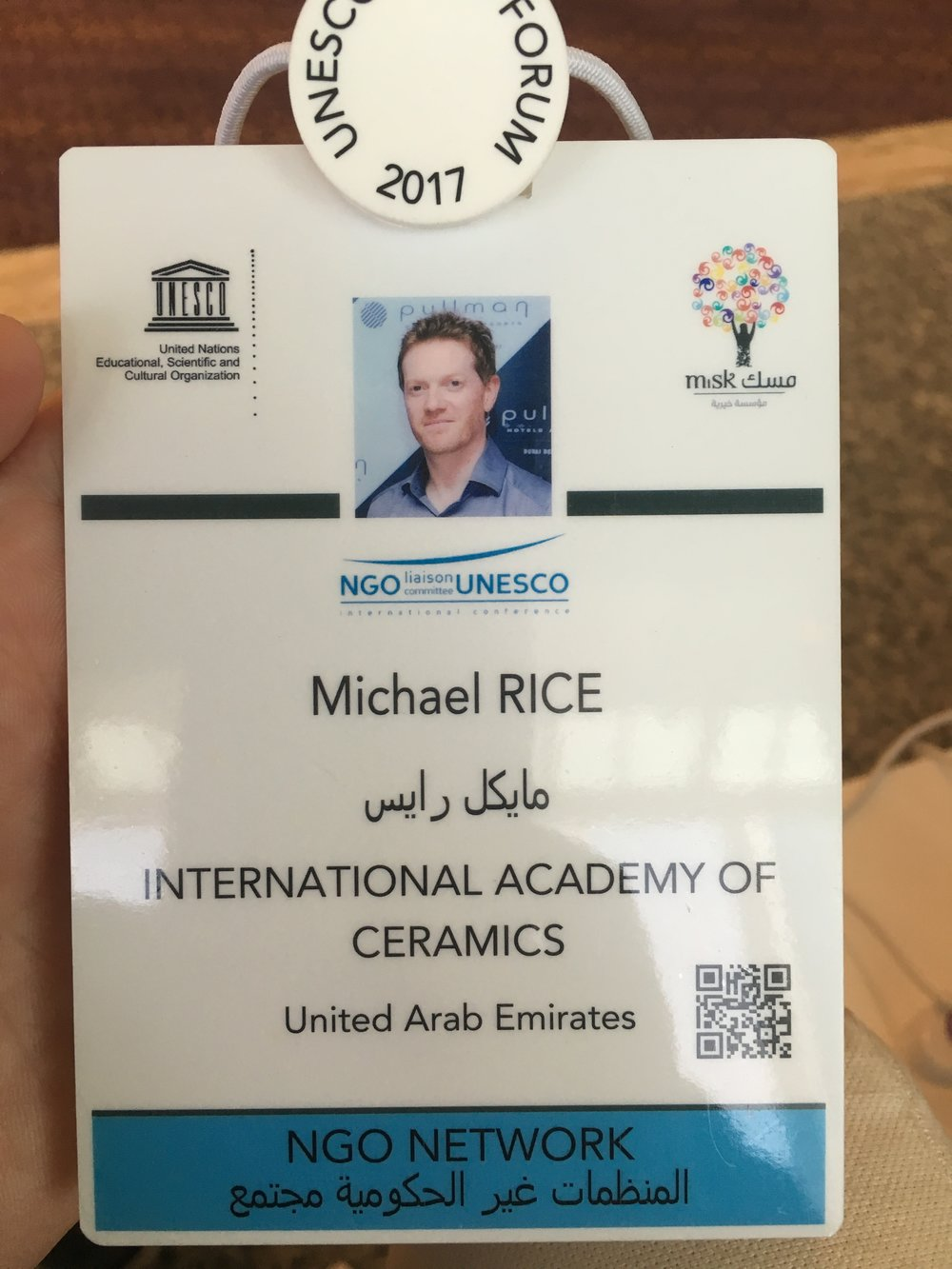 Attended the first NGO Forum in Saudi Arabia as representative of the International Academy of Ceramics in May 2017