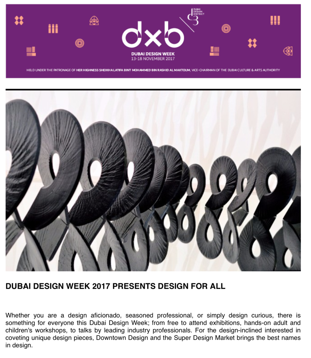 Featured on the official Dubai Design Week 2017 mailer
