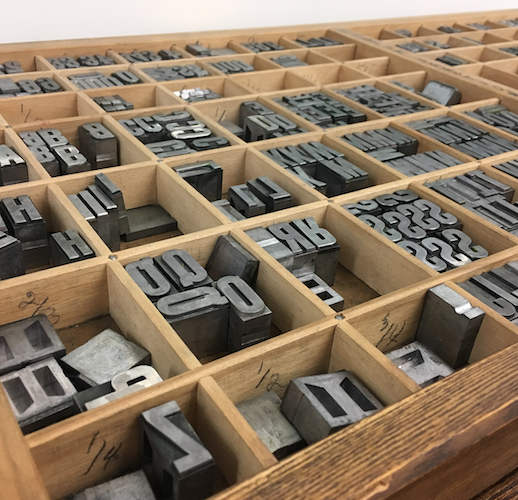 A type case from Art Center's letterpress studio
