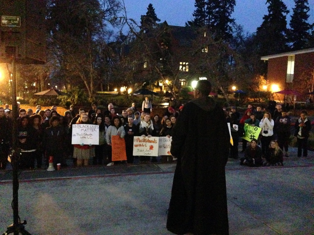 Mahmoud A. addressing the crowd at The Pacific University.