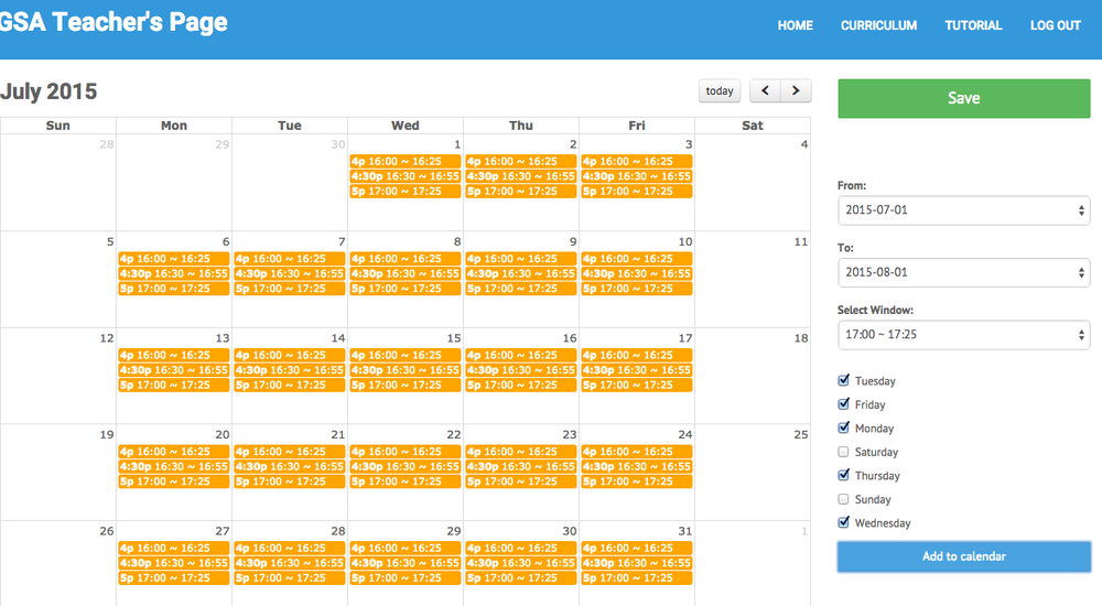 """Notice the classes you've added on your calendar are highlighted in orange. This is because you have only """"Added to calendar"""" and have not yet """"Saved"""" the updates. When it is orange, the classes are not yet up on the GSA system. Students will not be able to see these lessons while they are still orange."""