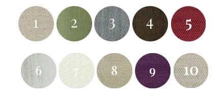 1. Natural Beige | 2. Asparagus Green | 3. Slate Blue | 4. Dark Chocolate Brown |  5. Velvet Red | 6. Birch | 7. Vanilla | 8. Golden Dust | 9. Plum | 10. Champagne