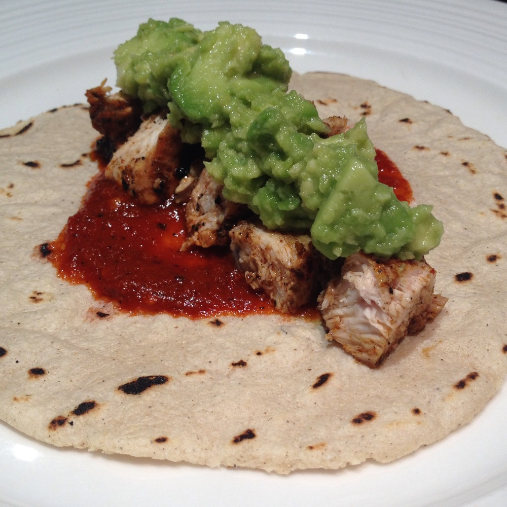 Grilled Chicken Taco with Salsa Roja and Guacamole