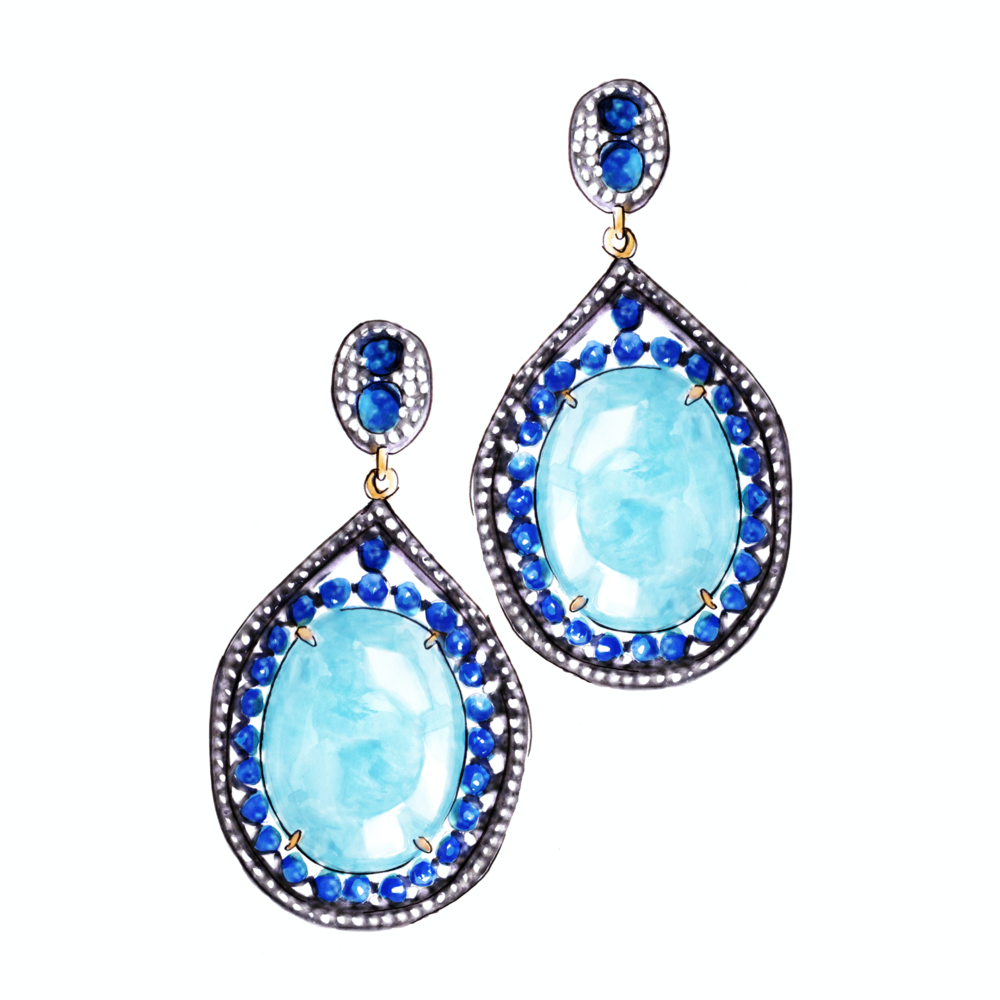 """Eyes of Blue' Aquamarine drop earrings   Aquamarine, Sapphire, Grey Diamond, Black Sterling Silver & 18K Yellow Gold Earrings  These dramatic earrings are a rhapsody in blue and feature large ovals of aquamarine framed by sapphires and diamonds set in black silver."