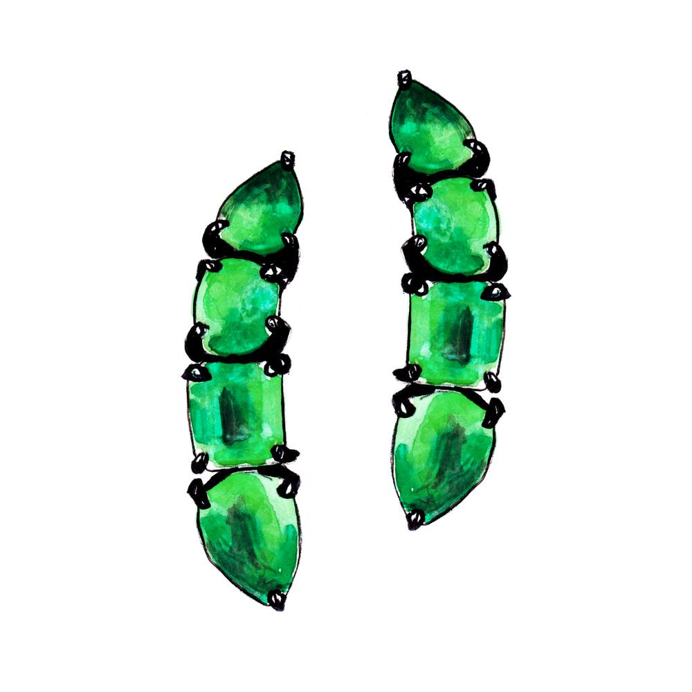 """CLASSIC ROCK"" EMERALD EAR PINS  by Jack Vartanian illustration"