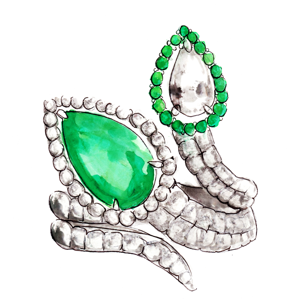 EMERALD AND DIAMOND RING by Ashu Malpani illustration