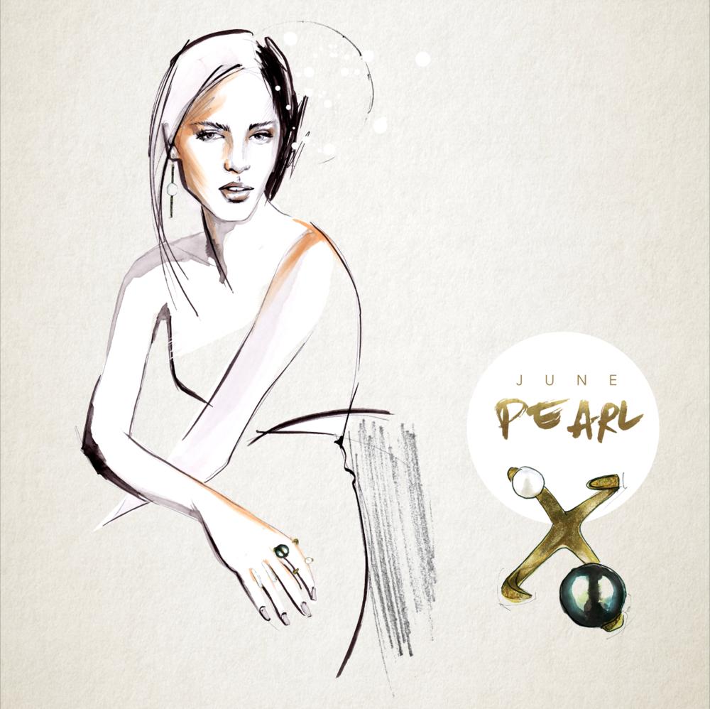 Pearl Birthstone illustration