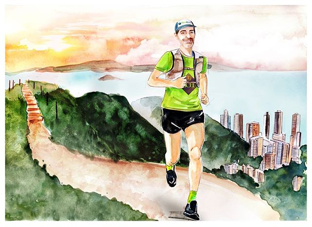 Portrait piece of @nictinworth running one of my favourite spots, High west.  This was a particularly special piece to paint, because of the story behind it and how it was born out of deep friendship, and a personal journey. Keep being a badass Nic!  #fuckcancer #running #runner #trailrunning #trailrunner #illustration #portrait #watercolour #drawing #art #hkartist #hkillustrator